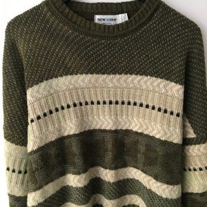 Vintage New Era Striped Sweater Knitted USA Green